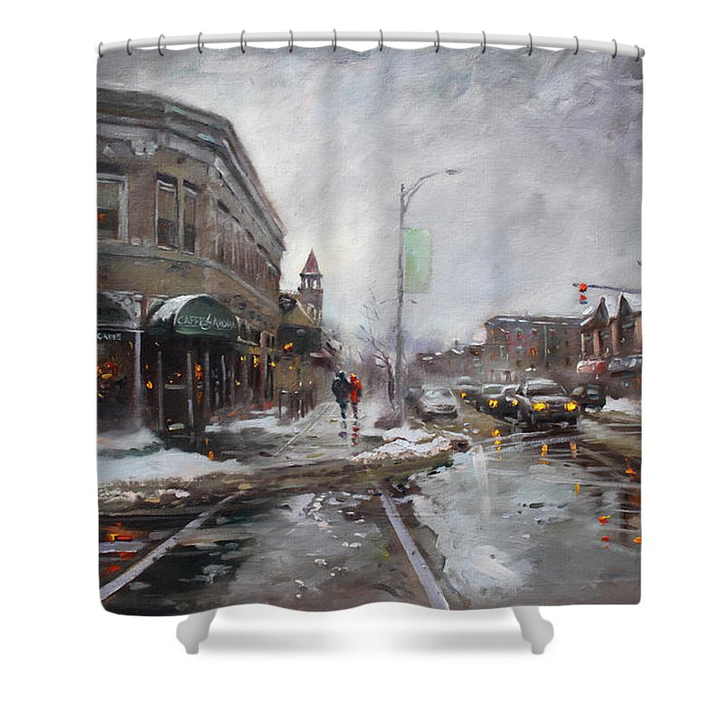 Caffe Aroma Shower Curtain featuring the painting Caffe Aroma In Winter by Ylli Haruni