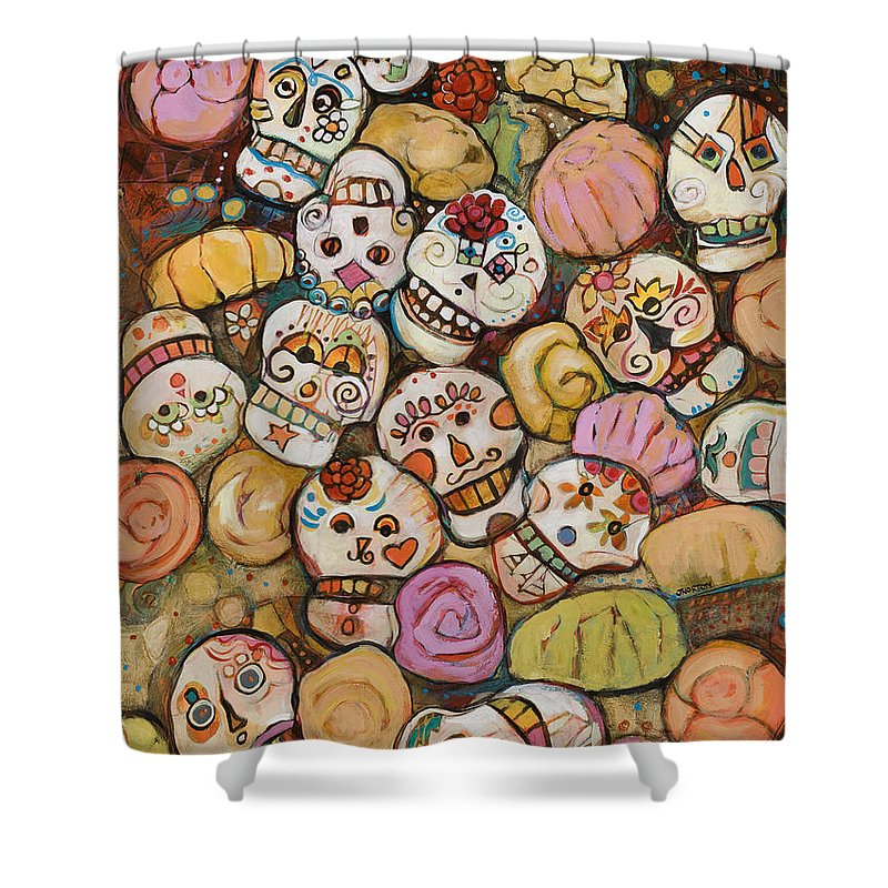 Jen Norton Shower Curtain featuring the painting Calaveras Azucar Y Pan  Dulce by Jen Norton a3aa7b4ce98dd