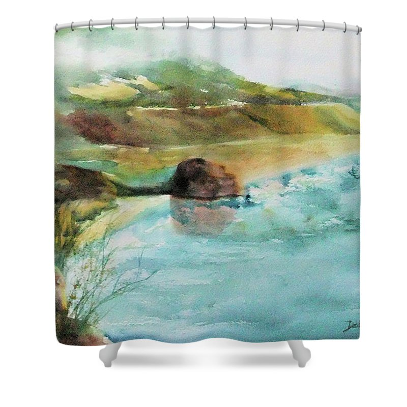Watercolor Shower Curtain featuring the painting California Dreaming by Debbie Lewis