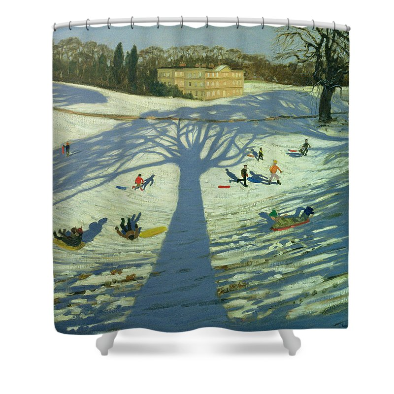 English Landscape Shower Curtain featuring the painting Calke Abbey House by Andrew Macara