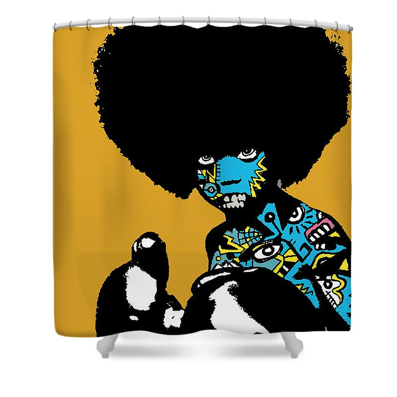 Boxer Shower Curtain featuring the digital art Call Of The Child Full Color by Kamoni Khem