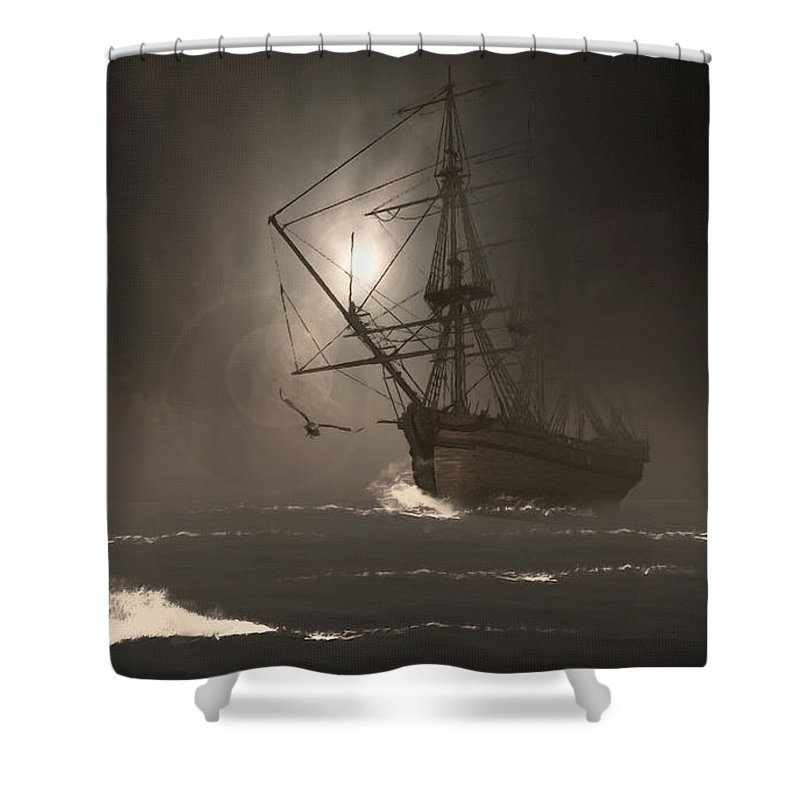 Ghostship Shower Curtain featuring the photograph Call Of The Hoot by Lourry Legarde