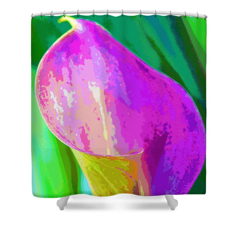Cally Lily Closeup Shower Curtain featuring the photograph Calla Lily Art by Regina Geoghan