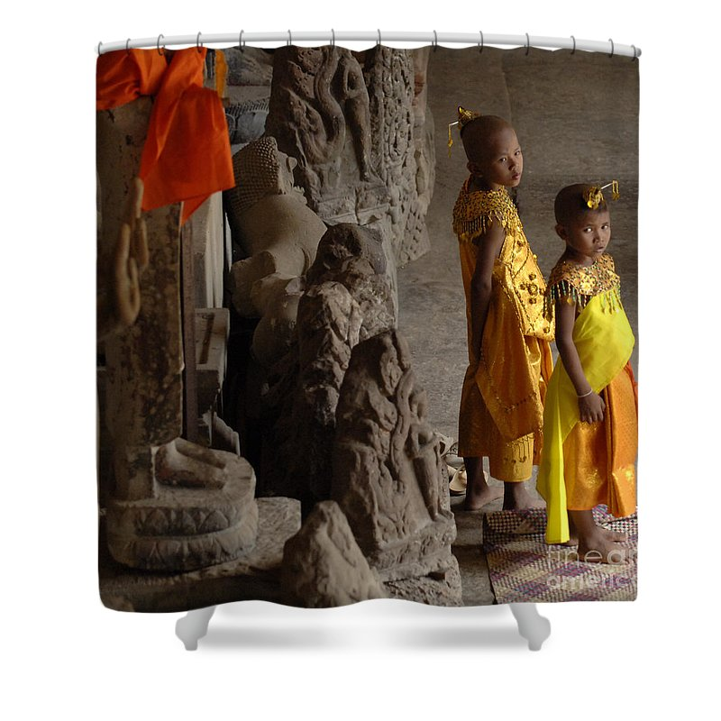 Cambodian Youth Shower Curtain featuring the photograph Cambodian Youths by Bob Christopher
