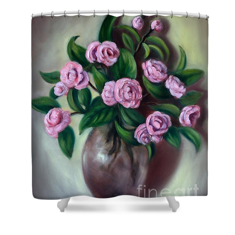 Camellias Shower Curtain featuring the painting Camellias by Randy Burns