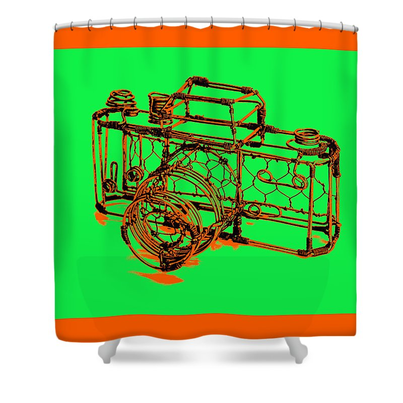 Art Shower Curtain featuring the pyrography Camera 1c by Mauro Celotti