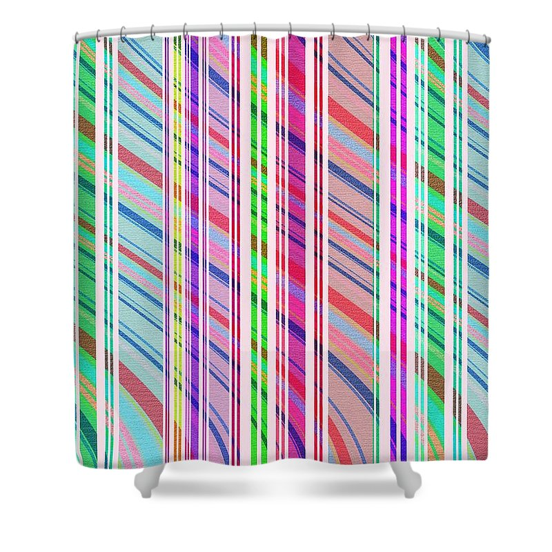 Candy Stripe (digital) By Louisa Knight (contemporary Artist) Shower Curtain featuring the digital art Candy Stripe by Louisa Knight
