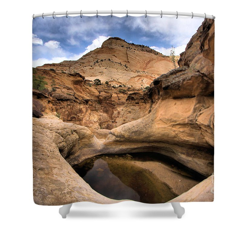 Capitol Reef National Park Shower Curtain featuring the photograph Canyon Pool by Adam Jewell