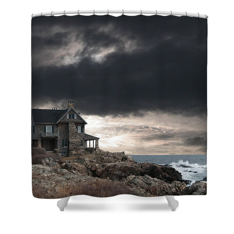 Clouds Shower Curtain featuring the photograph Cape Arundel Revisited by Guy Whiteley