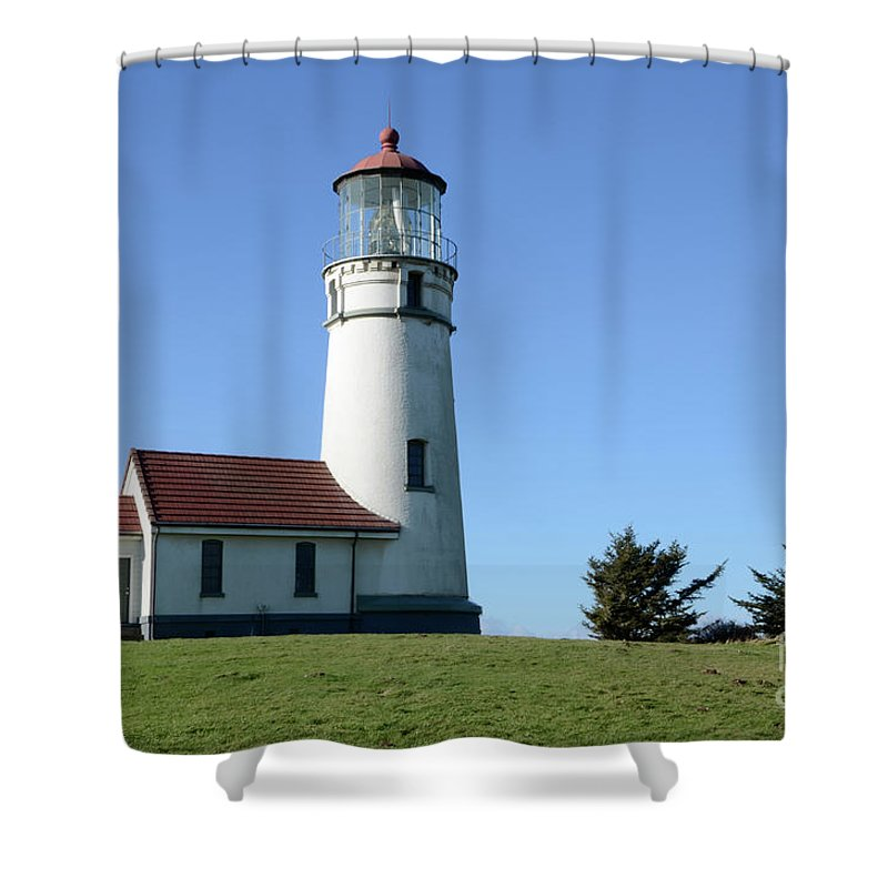 Pacific Ocean Shower Curtain featuring the photograph Cape Blanco Lighthouse 1 by Bob Christopher