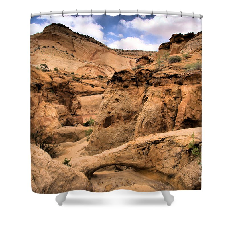 Capitol Reef National Park Shower Curtain featuring the photograph Capitol Bridge by Adam Jewell