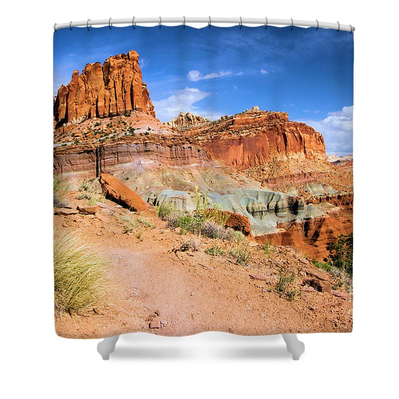 Capitol Reef National Park Shower Curtain featuring the photograph Capitol Castle by Adam Jewell