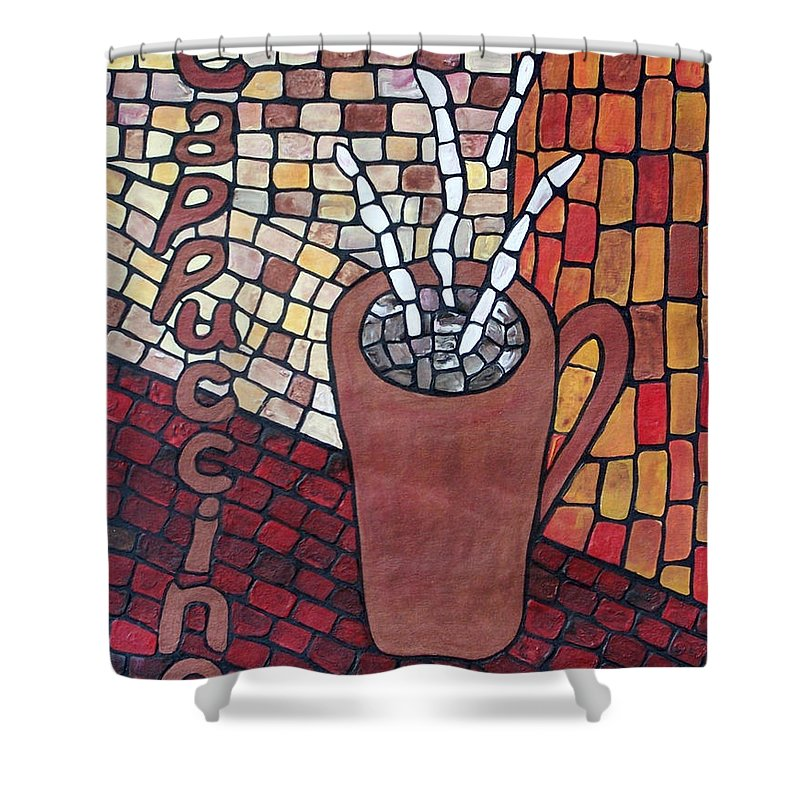 Original Shower Curtain featuring the painting Cappuccino by Cynthia Amaral
