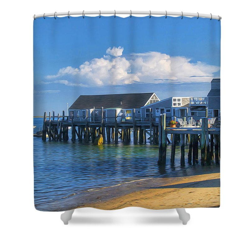 Captain Jack\\\'s Shower Curtain featuring the photograph Captain Jack's Wharf by Tammy Wetzel