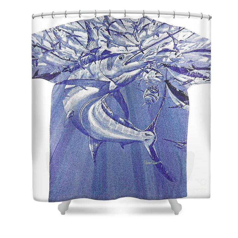 Marlin Shower Curtain featuring the digital art Carey Chen Mens Marlin Shirt by Carey Chen