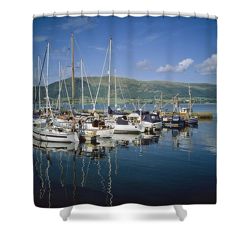 Blue Sky Shower Curtain featuring the photograph Carlingford Yacht Marina, Co Louth by The Irish Image Collection