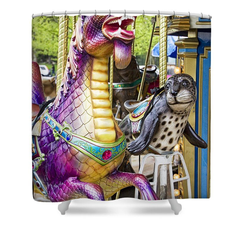 Art Shower Curtain featuring the photograph Carousal Dragon And Seal On A Merry-go-round by Randall Nyhof
