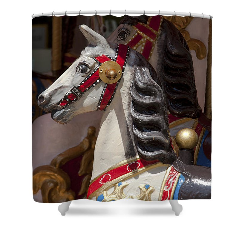Bavaria Shower Curtain featuring the photograph Carousel Horses by Andrew Michael