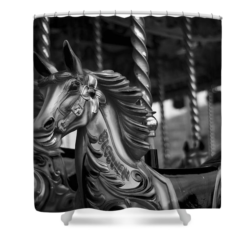 Merry Go Round Horses Shower Curtain featuring the photograph Carousel Horses Mono by Steve Purnell