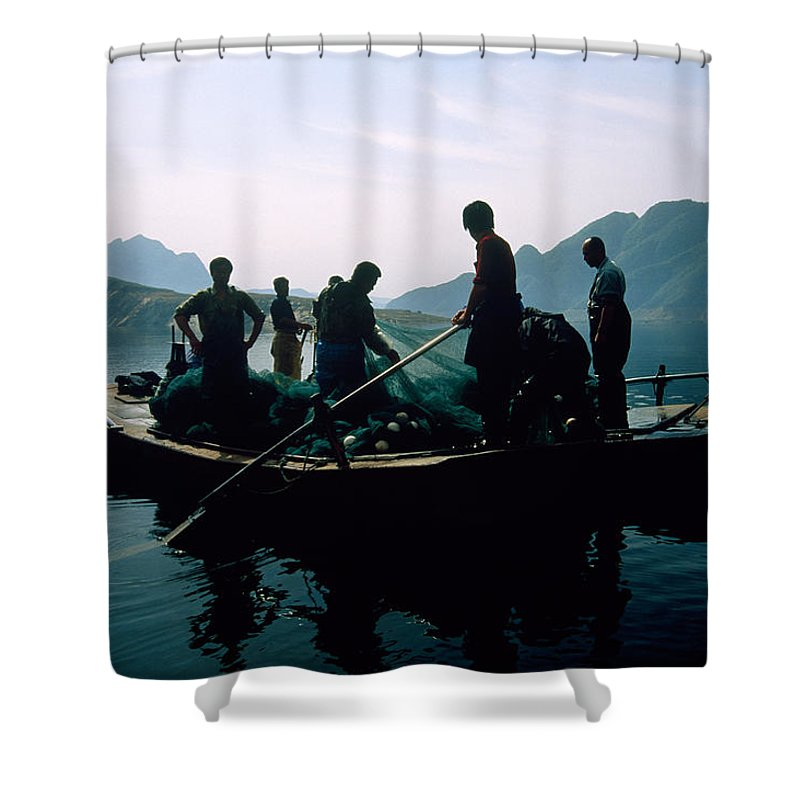 Fishing Shower Curtain featuring the photograph Carp Fishermen In Lake Formed By A Dam by Michael S. Yamashita