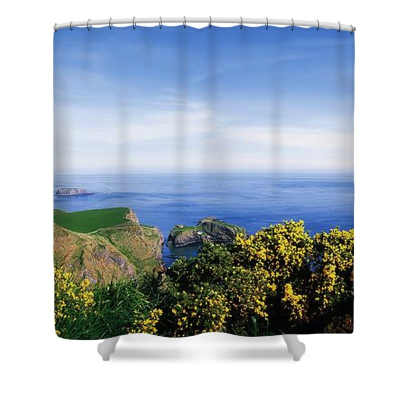 Beauty Shower Curtain featuring the photograph Carrick-a-rede Rope Bridge, Co Antrim by The Irish Image Collection