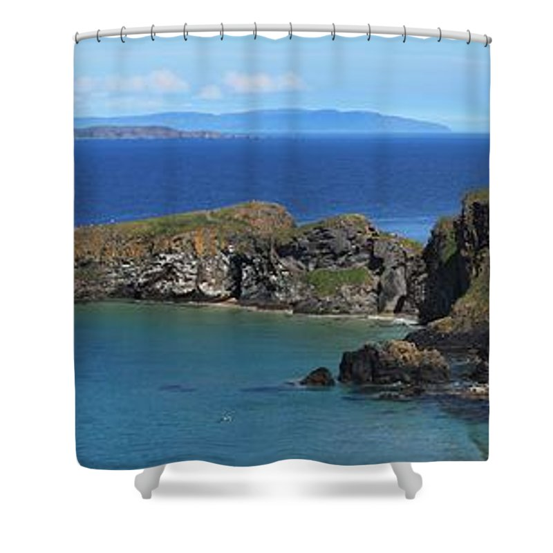Ballintoy Shower Curtain featuring the photograph Carrick-a-rede Rope Bridge In The by Peter Zoeller