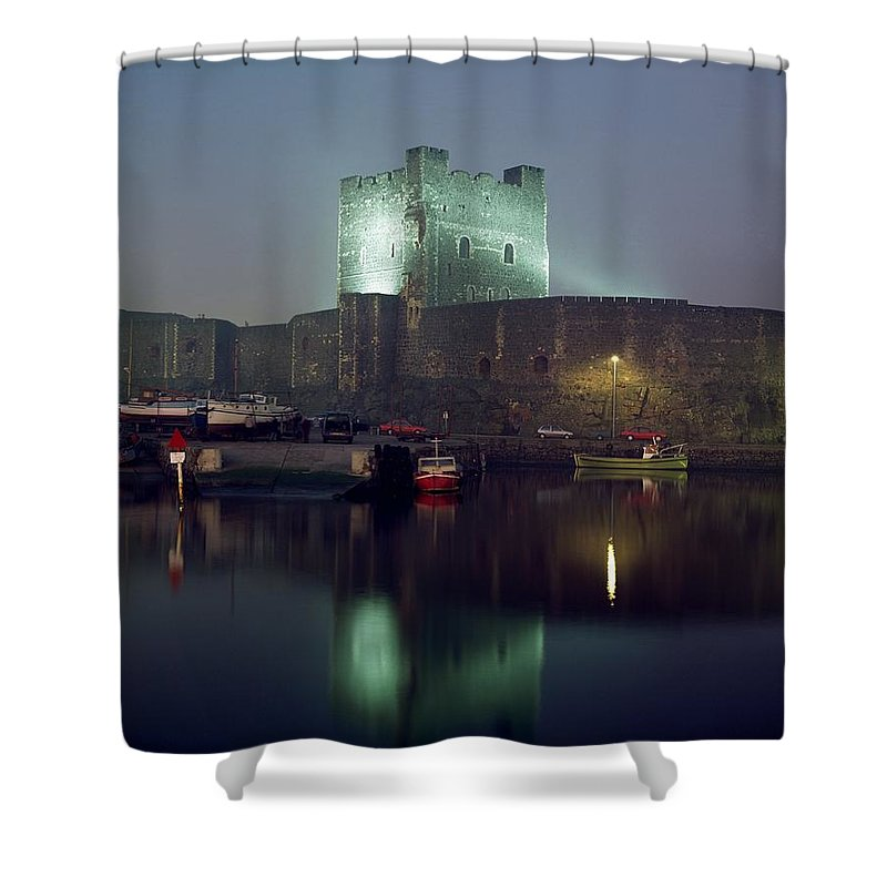 Archaeology Shower Curtain featuring the photograph Carrickfergus Castle & Harbour, Co by The Irish Image Collection