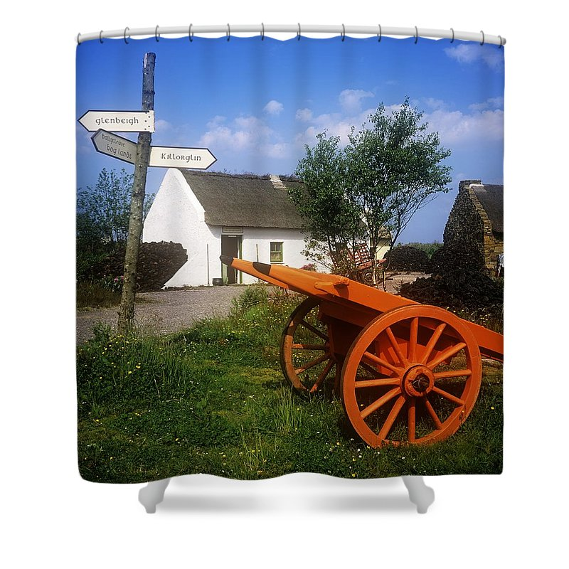 Board Shower Curtain featuring the photograph Cart On The Roadside Of A Village, The by The Irish Image Collection