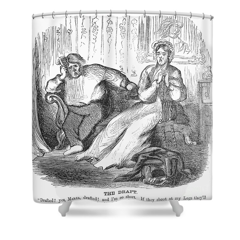1862 Shower Curtain featuring the photograph Cartoon: Draft, 1862 by Granger