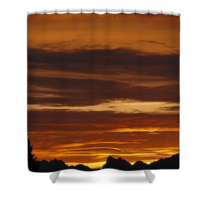 Mountains Shower Curtain featuring the photograph Cascade Mountains Sunrise 2 by Carol Eliassen