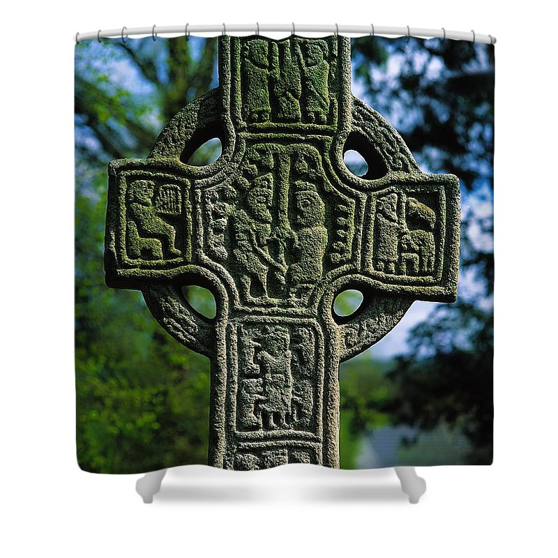 Archeology Shower Curtain featuring the photograph Castledermot, Co Kildare, Ireland North by The Irish Image Collection