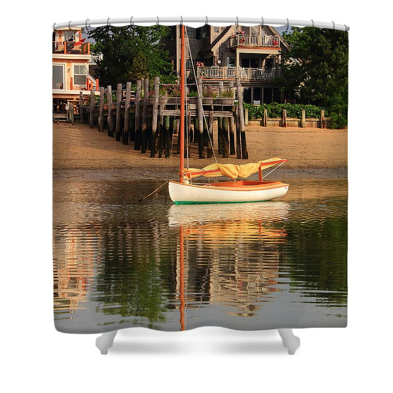 Catboat Shower Curtain featuring the photograph Catboat And Rippled Water Reflections by Roupen Baker