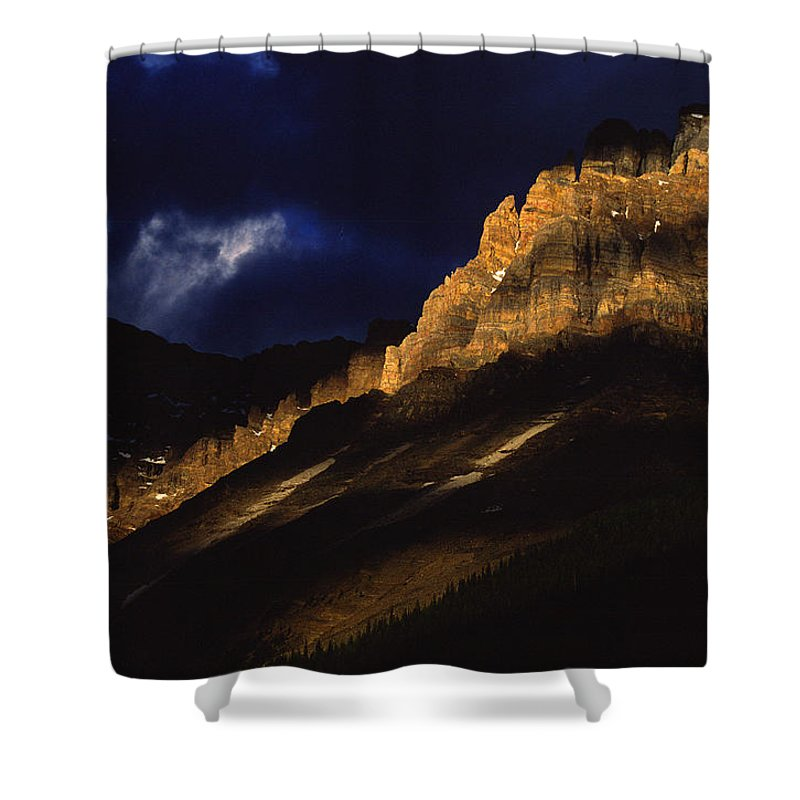 Light Shower Curtain featuring the photograph Cathedral Crags At Dusk, Yoho National by Robert Postma