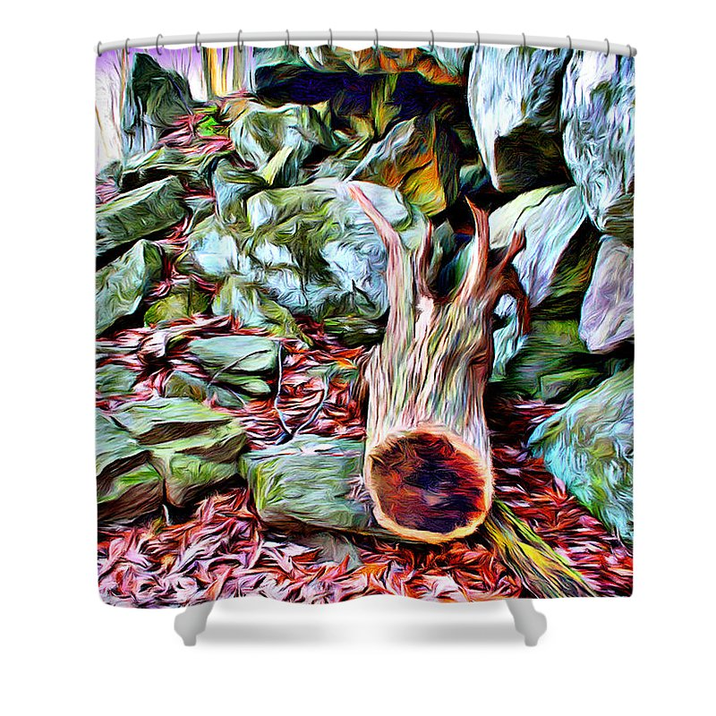 Catoctin Mountain Park Shower Curtain featuring the digital art Catoctin Cliff Trail by Stephen Younts