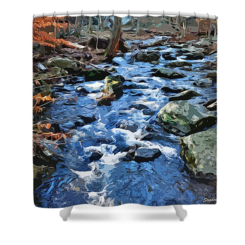 Catoctin Mountain Park Shower Curtain featuring the digital art Catoctin Stream by Stephen Younts