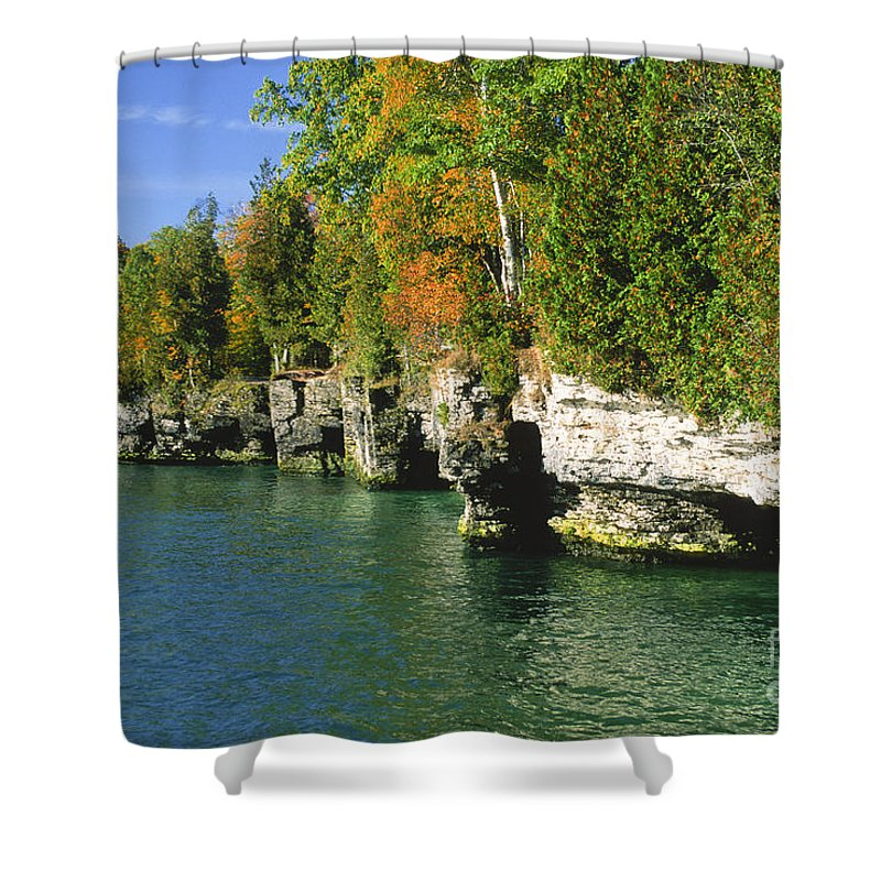Bronstein Shower Curtain featuring the photograph Cave Point Cove by Sandra Bronstein