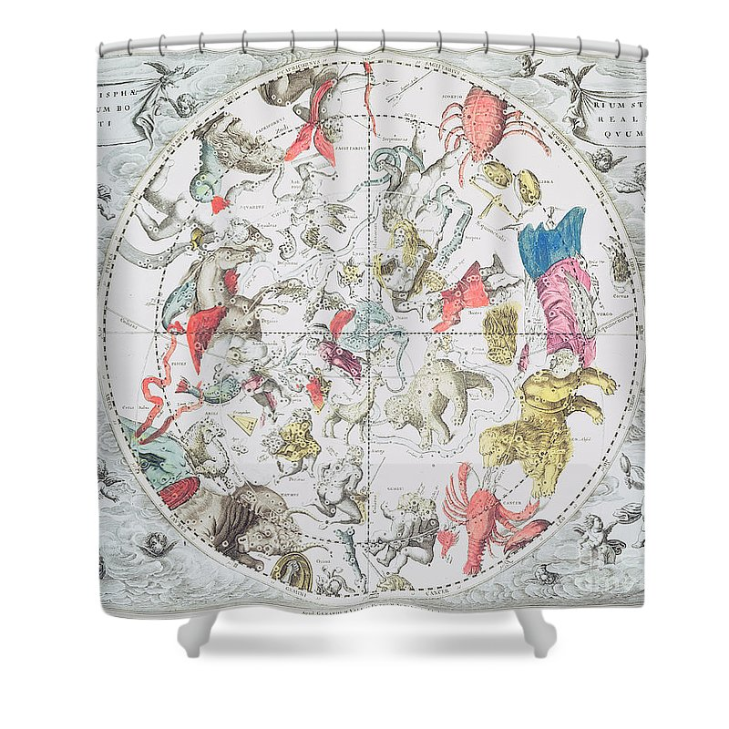 Celestial Planisphere Showing The Signs Of Zodiac Shower Curtain Featuring Drawing