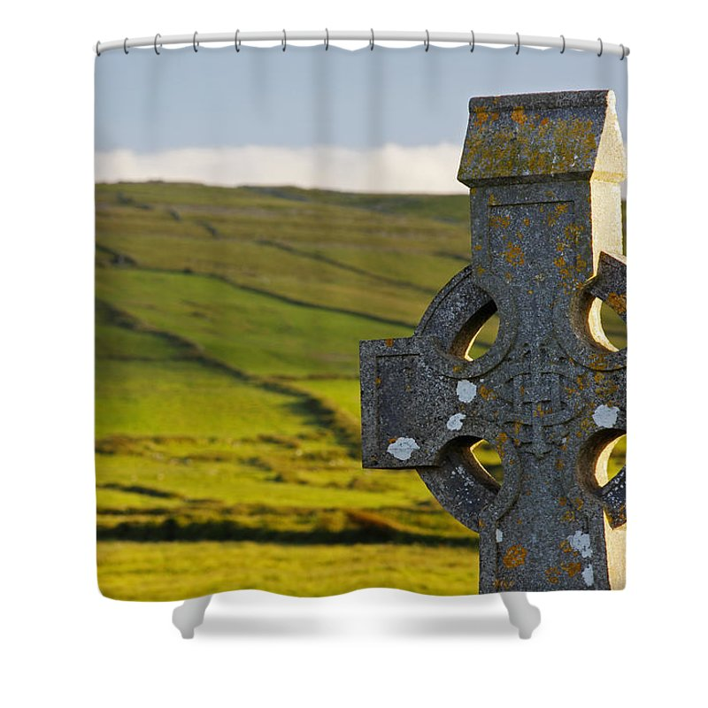Irish Shower Curtain featuring the photograph Celtic Cross In A Cemetery by Trish Punch