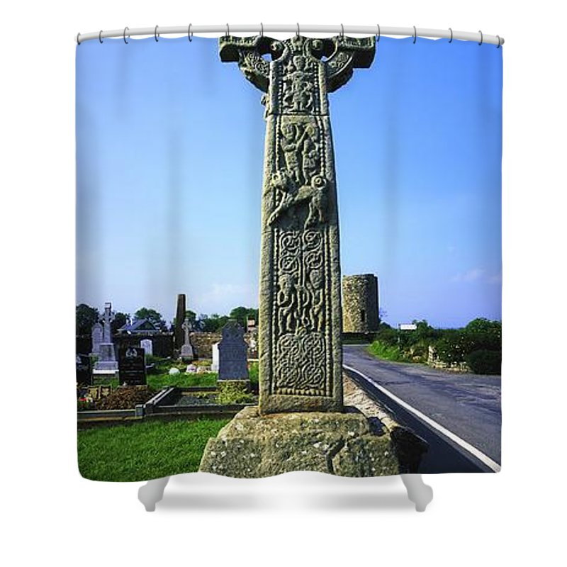 Artwork And Paintings Shower Curtain featuring the photograph Celtic High Cross At Drumcliff by The Irish Image Collection
