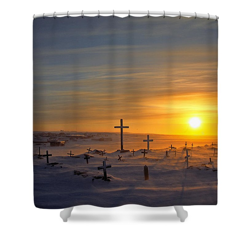 Light Shower Curtain featuring the photograph Cemetary In Winter, Igloolik, Nunavut by Robert Postma