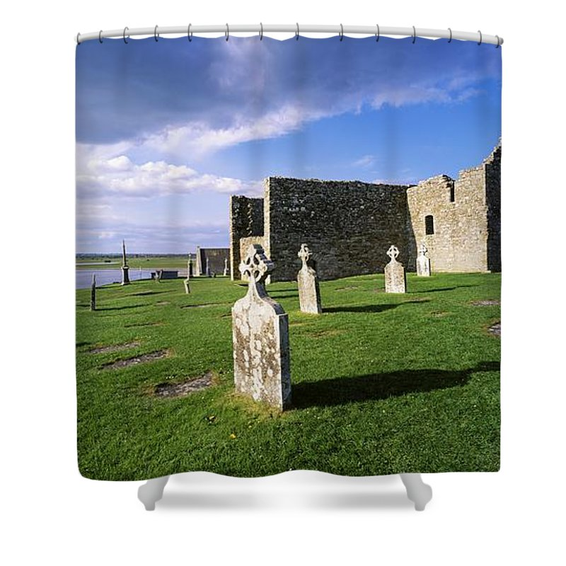 Abbeys Shower Curtain featuring the photograph Cemetery In Front Of A Monastery by The Irish Image Collection