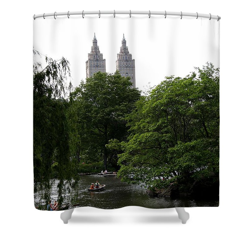 Pond Shower Curtain featuring the photograph Central Park Pond by Christiane Schulze Art And Photography