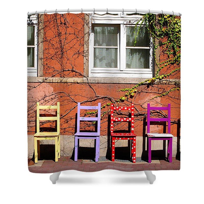Hamlyn Shower Curtain featuring the photograph Chairs At Hamlyn by Rob Hawkins