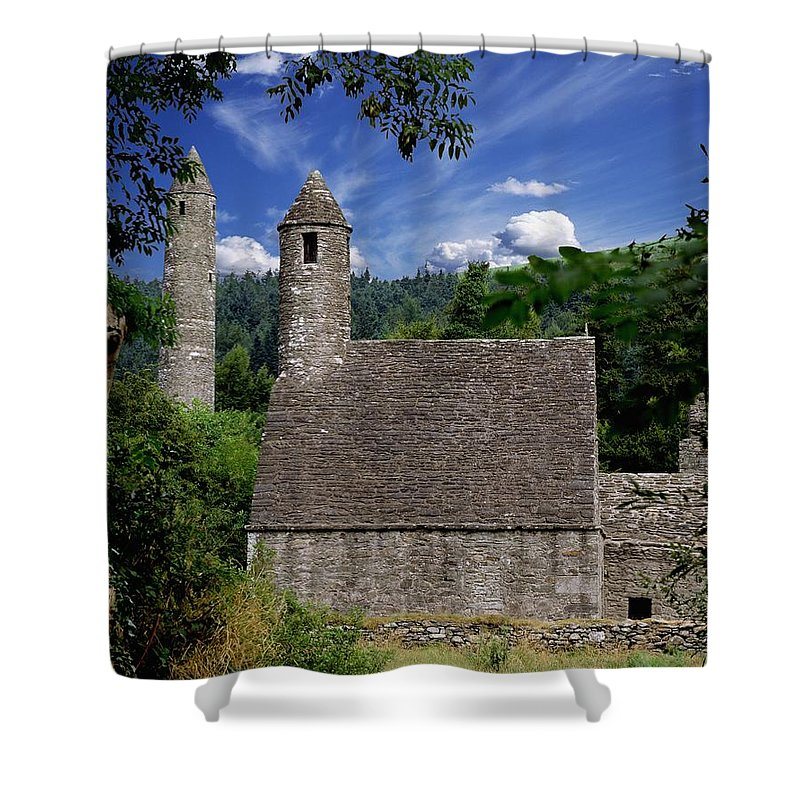 Architectural Exterior Shower Curtain featuring the photograph Chapel Of Saint Kevin At Glendalough by The Irish Image Collection