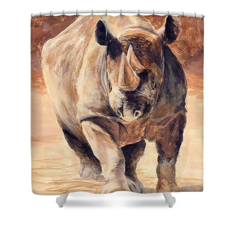 Africa Shower Curtain featuring the painting Charging Rhino by Michael Beckett