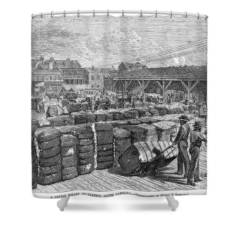 1878 Shower Curtain featuring the photograph Charleston: Cotton Wharf by Granger