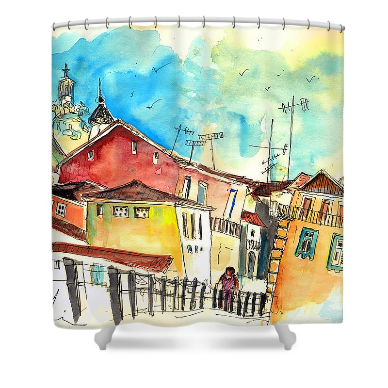 Portugal Shower Curtain featuring the painting Chaves in Portugal 02 by Miki De Goodaboom