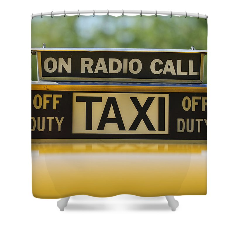 Checker Taxi Cab Shower Curtain featuring the photograph Checker Taxi Cab Duty Sign by Jill Reger