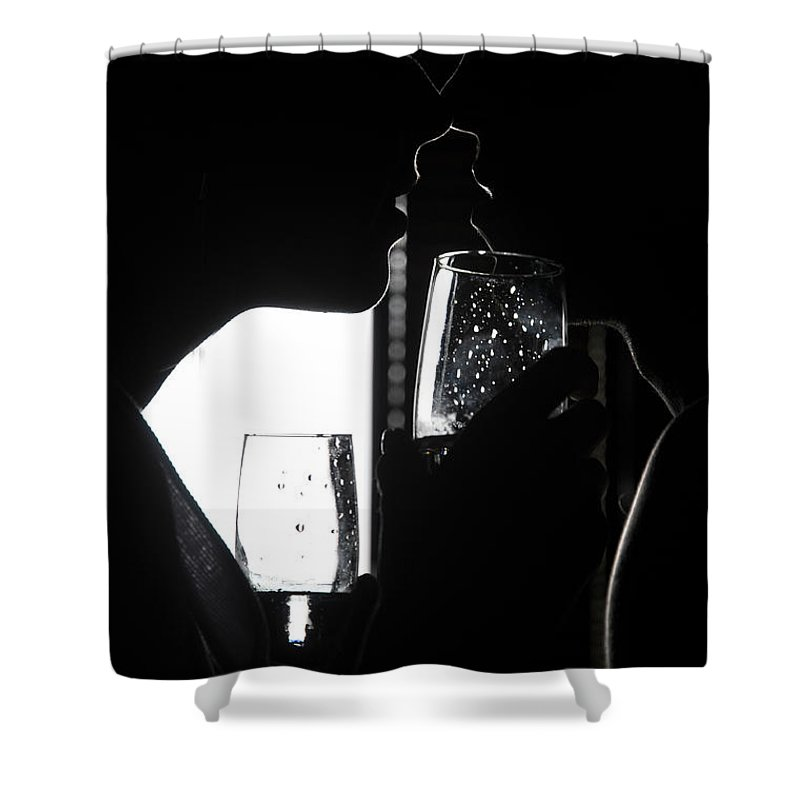 Love Shower Curtain featuring the photograph Cheers Before The Kiss by Jenny Rainbow