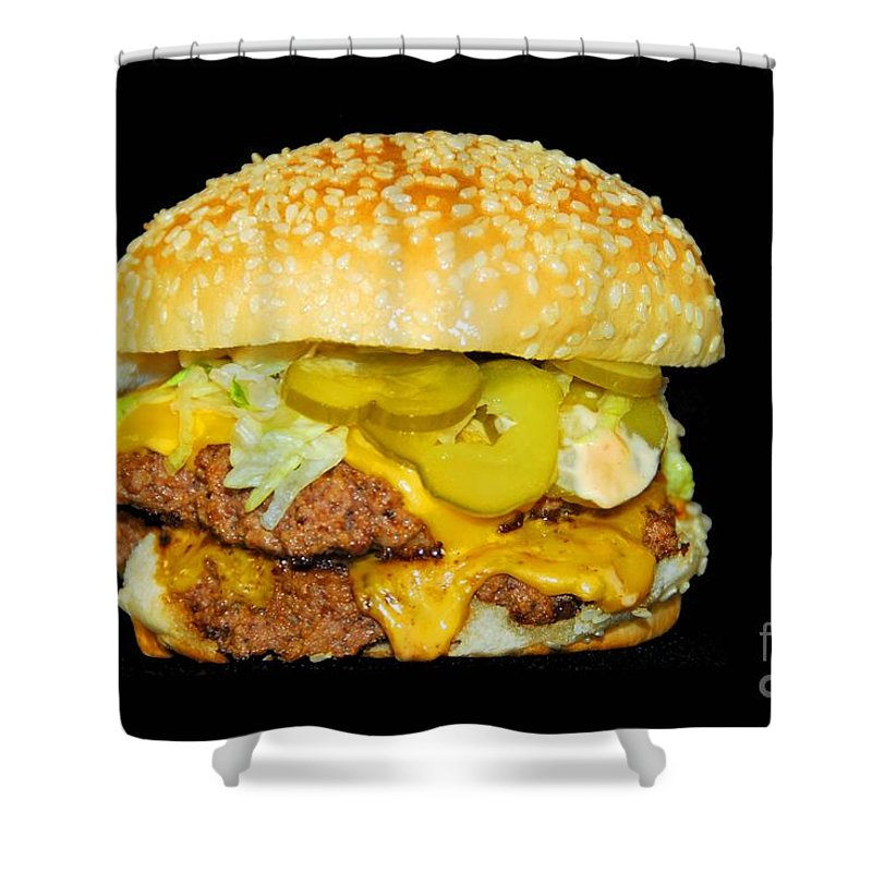 Food Shower Curtain featuring the photograph Cheeseburger by Cindy Manero